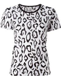 T-shirt à col rond imprimé léopard blanc