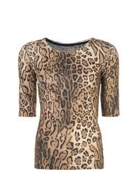 T-shirt à col rond imprimé léopard marron clair
