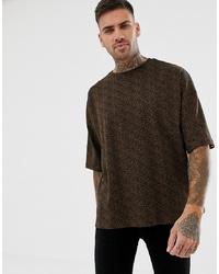 T-shirt à col rond imprimé léopard marron foncé Bershka