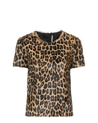 T-shirt à col rond imprimé léopard marron