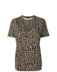 T-shirt à col rond imprimé léopard marron Etro