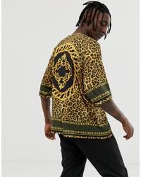 T-shirt à col rond imprimé léopard moutarde ASOS DESIGN