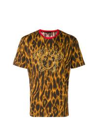 T-shirt à col rond imprimé léopard moutarde Versace