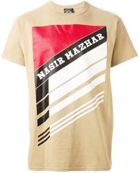T-shirt à col rond imprimé marron clair