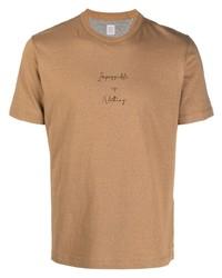 T-shirt à col rond imprimé marron clair Eleventy
