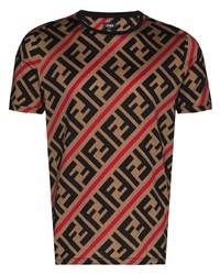 T-shirt à col rond imprimé marron clair Fendi