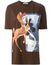 T-shirt à col rond imprimé marron foncé