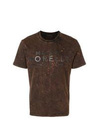 T-shirt à col rond imprimé marron foncé Frankie Morello