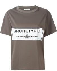 T-shirt à col rond imprimé marron foncé Golden Goose Deluxe Brand