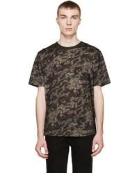 T-shirt à col rond imprimé marron