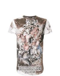 T-shirt à col rond imprimé marron Balmain
