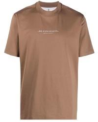 T-shirt à col rond imprimé marron Brunello Cucinelli
