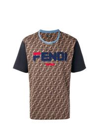 T-shirt à col rond imprimé marron Fendi