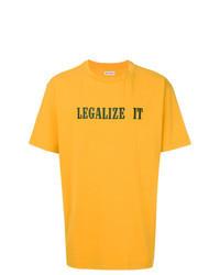T-shirt à col rond imprimé moutarde