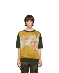 T-shirt à col rond imprimé moutarde Dries Van Noten