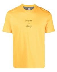 T-shirt à col rond imprimé moutarde Eleventy
