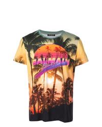 T-shirt à col rond imprimé multicolore Balmain