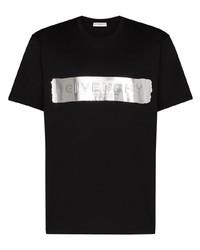 T-shirt à col rond imprimé noir et argenté Givenchy