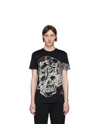 T-shirt à col rond imprimé noir et blanc Alexander McQueen