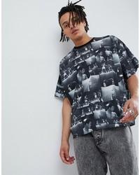 T-shirt à col rond imprimé noir et blanc ASOS DESIGN