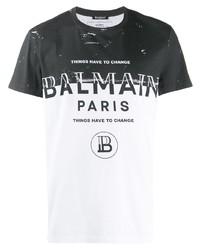 T-shirt à col rond imprimé noir et blanc Balmain