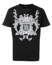 T-shirt à col rond imprimé noir et blanc Billionaire