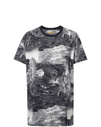 T-shirt à col rond imprimé noir et blanc Burberry