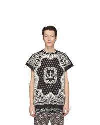 T-shirt à col rond imprimé noir et blanc Dolce and Gabbana
