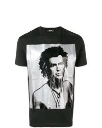 T-shirt à col rond imprimé noir et blanc DSQUARED2