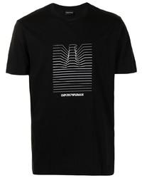 T-shirt à col rond imprimé noir et blanc Emporio Armani