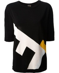 T-shirt à col rond imprimé noir et blanc Fendi