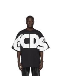 T-shirt à col rond imprimé noir et blanc Gcds