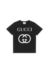 T-shirt à col rond imprimé noir et blanc Gucci