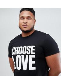 T-shirt à col rond imprimé noir et blanc Help Refugees