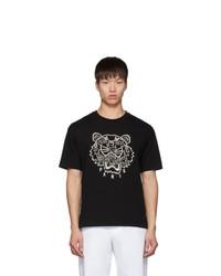 T-shirt à col rond imprimé noir et blanc Kenzo