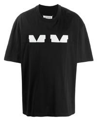 T-shirt à col rond imprimé noir et blanc Maison Margiela