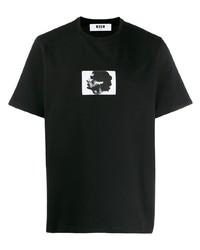 T-shirt à col rond imprimé noir et blanc MSGM