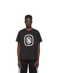 T-shirt à col rond imprimé noir et blanc Neil Barrett