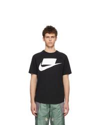 T-shirt à col rond imprimé noir et blanc Nike
