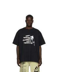T-shirt à col rond imprimé noir et blanc Off-White