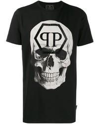 T-shirt à col rond imprimé noir et blanc Philipp Plein