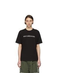 T-shirt à col rond imprimé noir et blanc Sacai