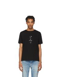 T-shirt à col rond imprimé noir et blanc Saint Laurent