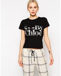T-shirt à col rond imprimé noir et blanc See by Chloe