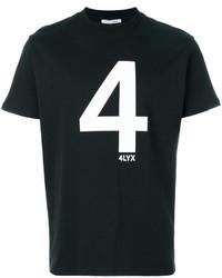 T-shirt à col rond imprimé noir et blanc