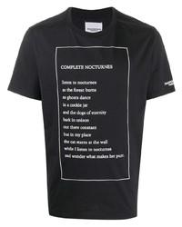 T-shirt à col rond imprimé noir et blanc Takahiromiyashita The Soloist
