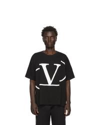 T-shirt à col rond imprimé noir et blanc Valentino