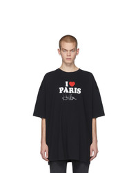 T-shirt à col rond imprimé noir et blanc Vetements