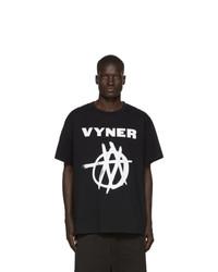 T-shirt à col rond imprimé noir et blanc Vyner Articles