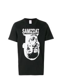 T-shirt à col rond imprimé noir et blanc Yang Li